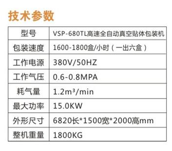 高速全自动真空贴体包装机参数